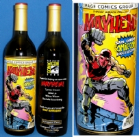 Mayhem! / Tone Rodriguez etched wine bottle Comic Art